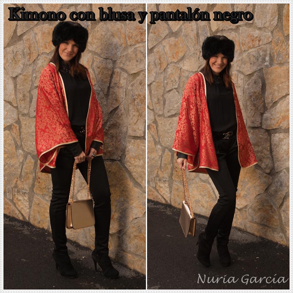 kimono con blusa y pantalón negro