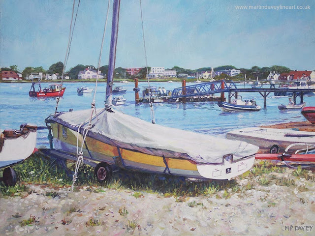 martin Davey boat on beach with covers acrylic art