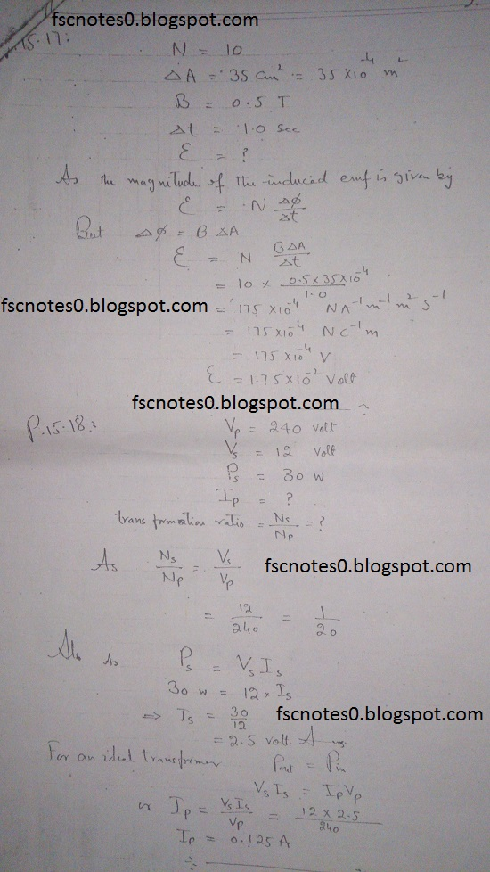 F.Sc ICS Notes: Physics XII: Chapter 15 Electromagnetic Induction Numerical Problems Asad Hussain 8
