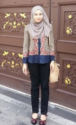 Atasan batik cantik + hijab modern casual