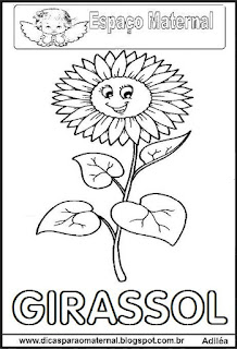 Desenho de girassol para colorir
