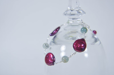 cranberry wine large coin pearl and aquamarine light green sterling silver bracelet handmade