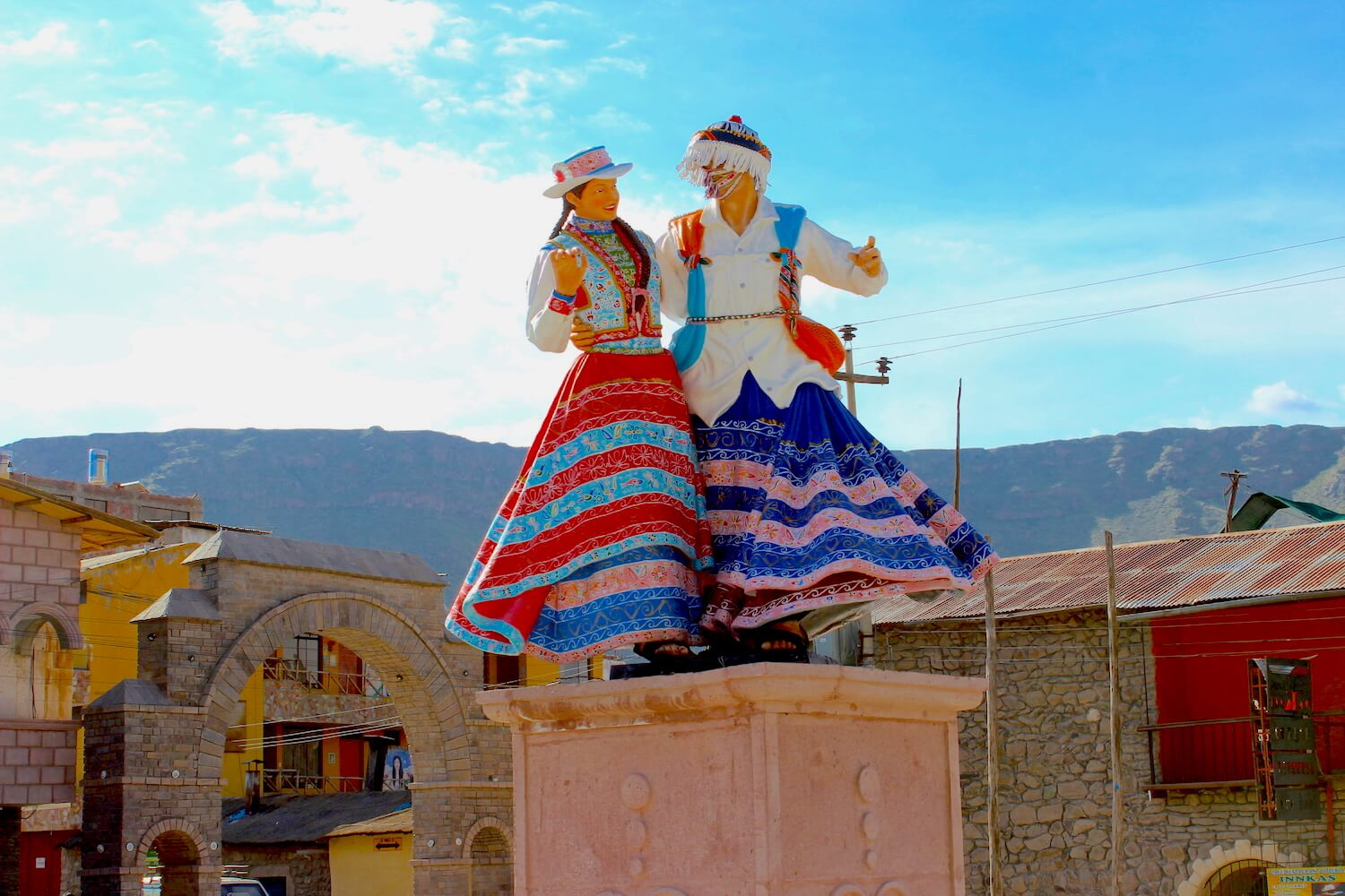 chivay statues with costume