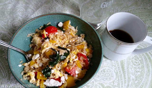 fried rice scramble, egg, lunch, leftovers, healthy, coffee, food diary, diet, eating, food, what I ate, tasty tuesday,