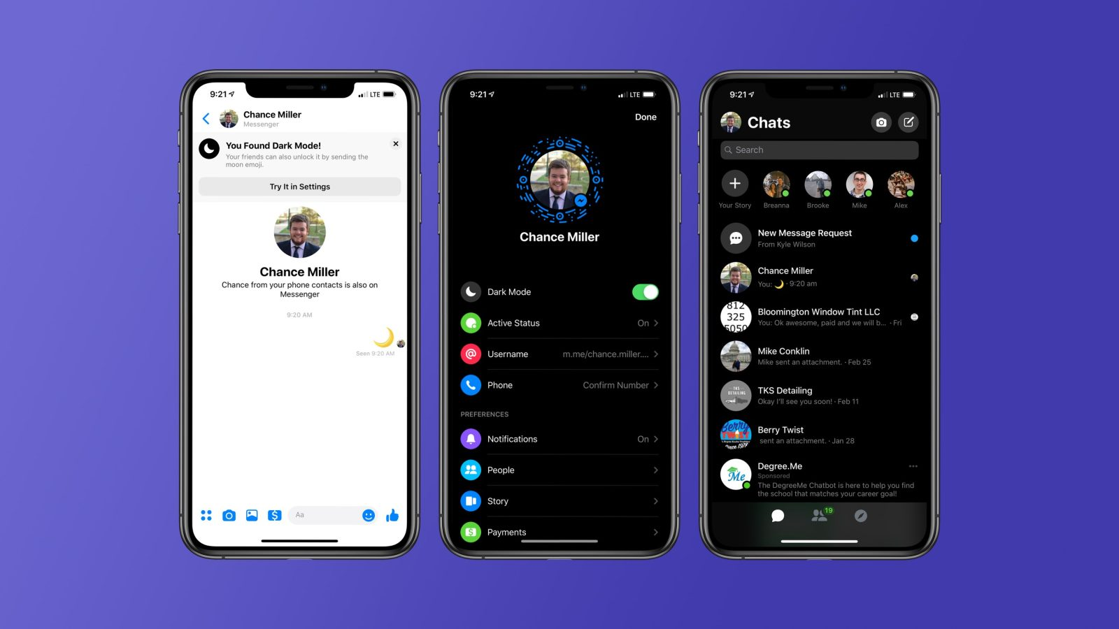 Cách bật chế độ nền tối Dark Mode trong Facebook Messenger zamoss