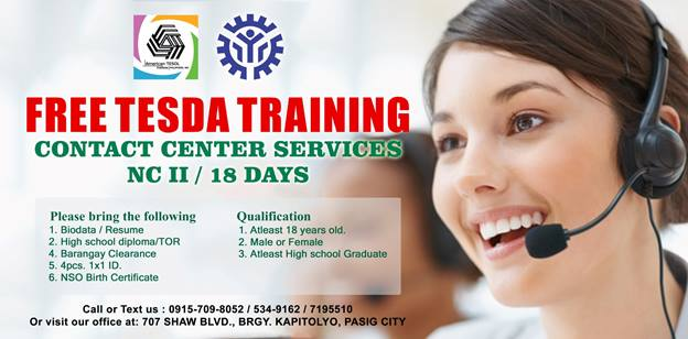 Contact Center Services NC II - 18 DAYS  (FREE TESDA TRAINING)