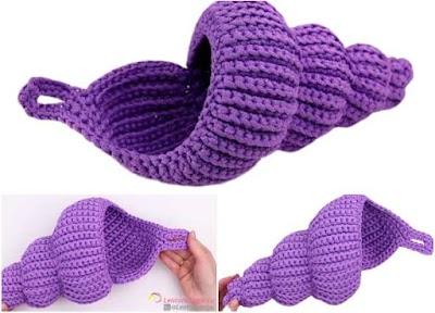 Cómo tejer un cesto con forma de concha marina