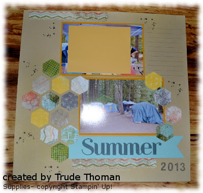 Stamp with Trude, Stampin' Up!, scrapbook page, hexagon punch,