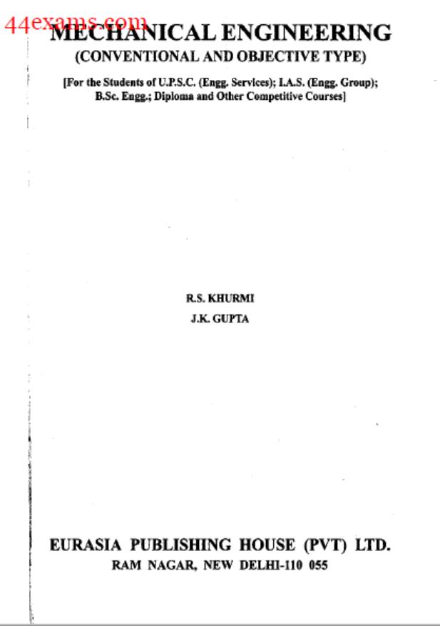 Mechanical Engineering By J.K. Gupta : For Railway Exam PDF Book