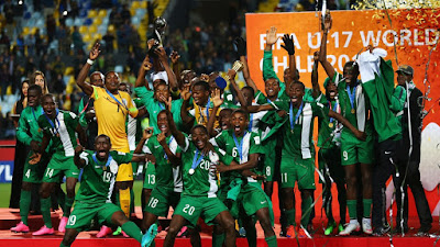 Nigeria's Golden Eaglets celebrating their 2015 FIFA U-17 World Cup triumph