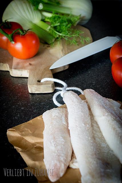 Blog Dinner mit Rezepte für Zwei: Fischfilet auf Fenchel-Tomaten-Gemüse
