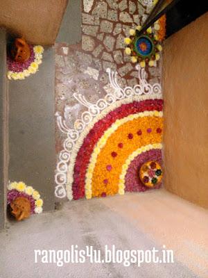 Rangoli Made by Flowers