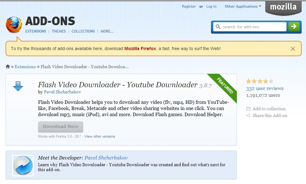 Add On Firefox Youtube Downloader