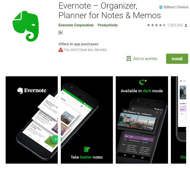 Best Evernote app android app for blogger .