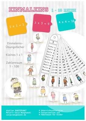 Kleines Einmaleins üben - Fächer - 1-10 Reihe - Zahlenraum 1-100