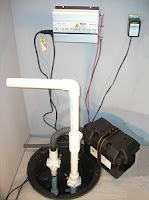 Sump pump with battery backup in basement sump pit