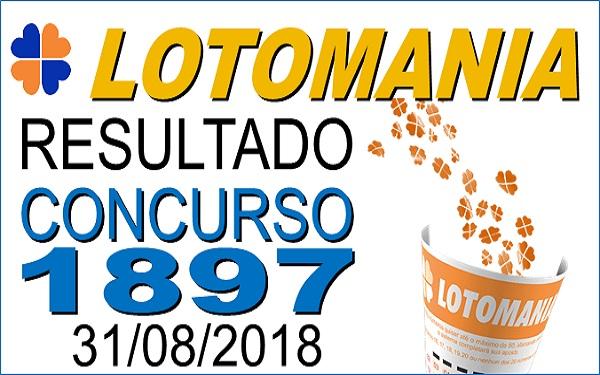 Resultado da Lotomania concurso 1897 de 31/08/2018 (Imagem: Informe Notícias)