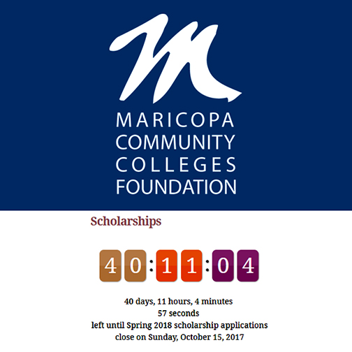 MCCDF logo.   Text: Scholarships: 30 days, `` hours, 4 minutes and 57 seconds left until Spring 2017 scholarship applications close on Sunday, Oct. 15, 20-17