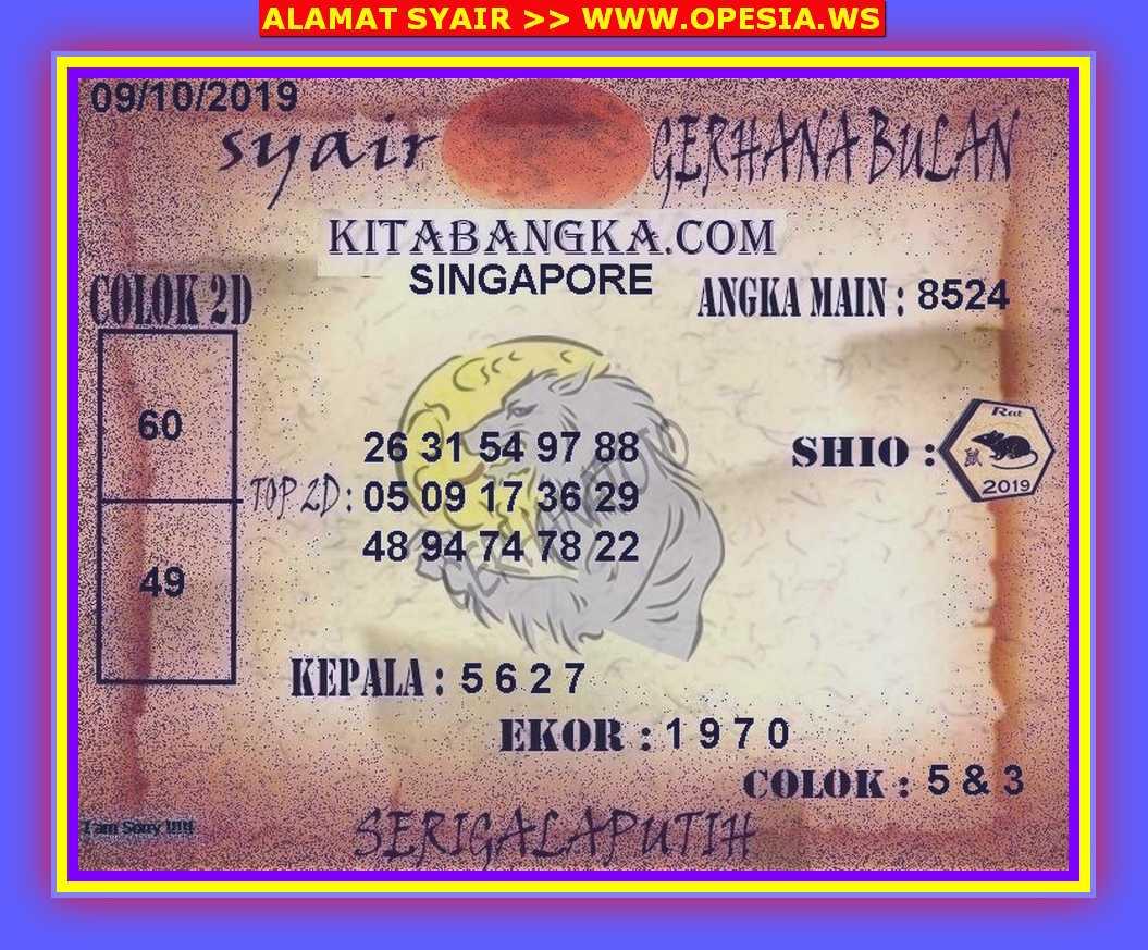 Kode syair Singapore Rabu 9 Oktober 2019 52