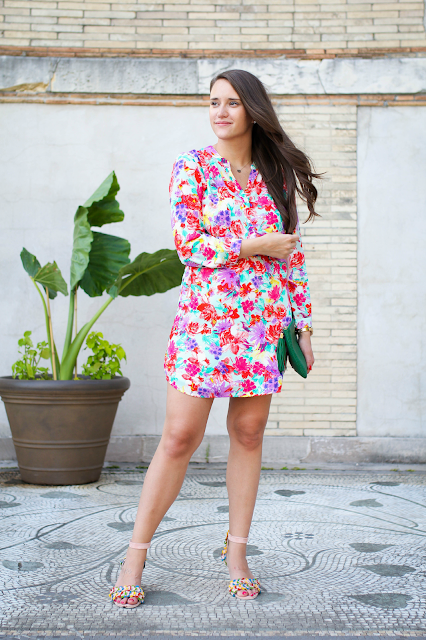 Floral Dress, Shirt Dress, Summer Dress, Bright Colored Dress, Patterned Dresses,