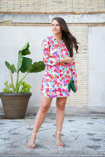 Floral Dress, Shirt Dress, Summer Dress, Bright Colored Dress, Patterned Dresses,