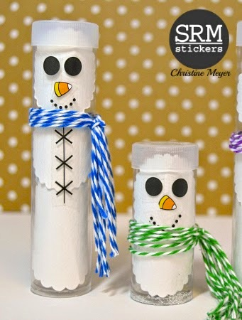 SRM Stickers Blog - TUBE Snowmen by Christine - #tubes #minitubes #originaltubes #twine #stickerstitches #stickers #punched pieces #stickerborders