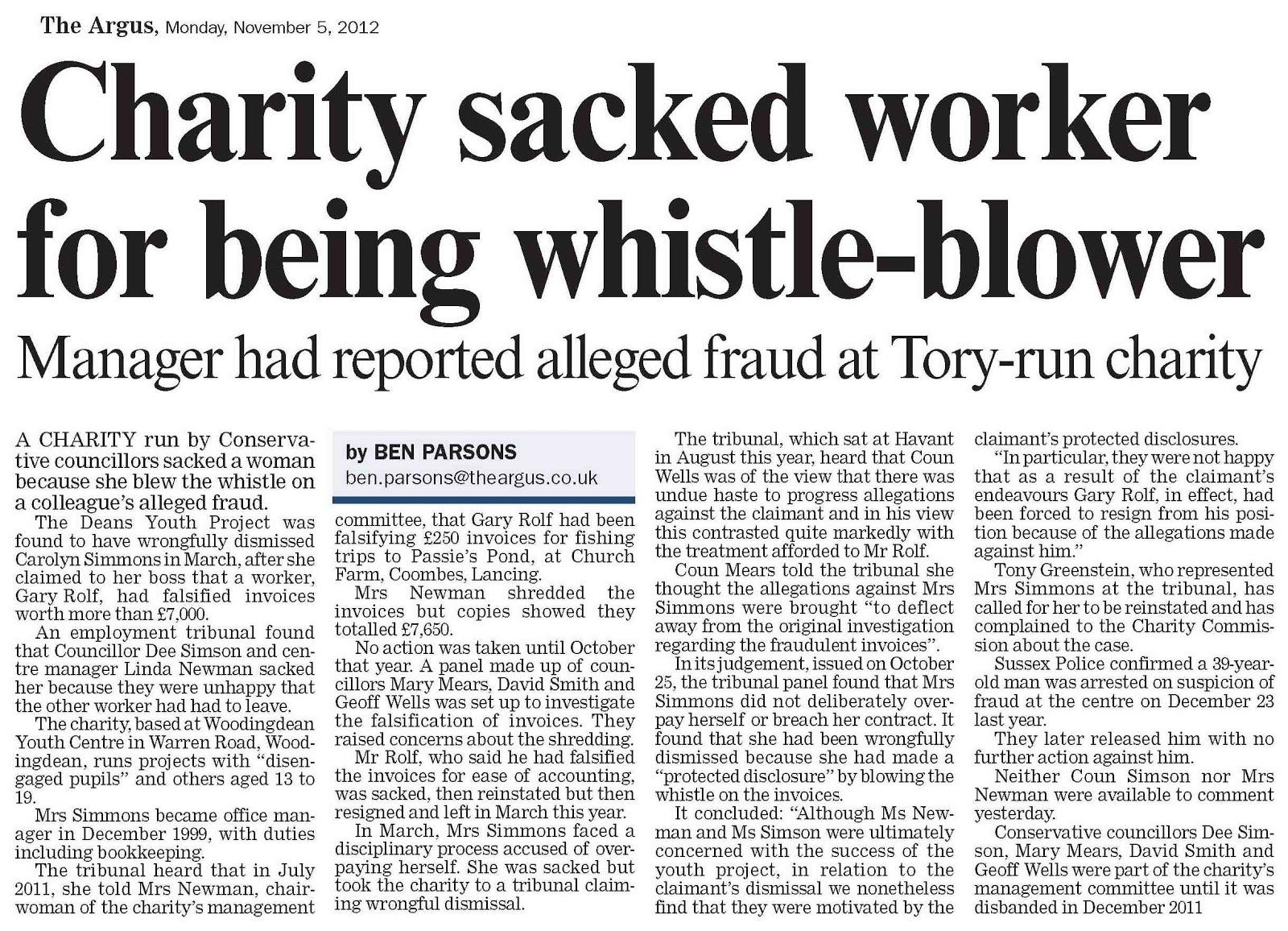 Tony Greenstein Blog: Tony Greenstein's Blog: Whistleblowing Triumph In Brighton
