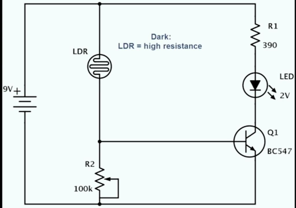 Rangkaian sensor cahaya paling sederhana menggunakan LDR