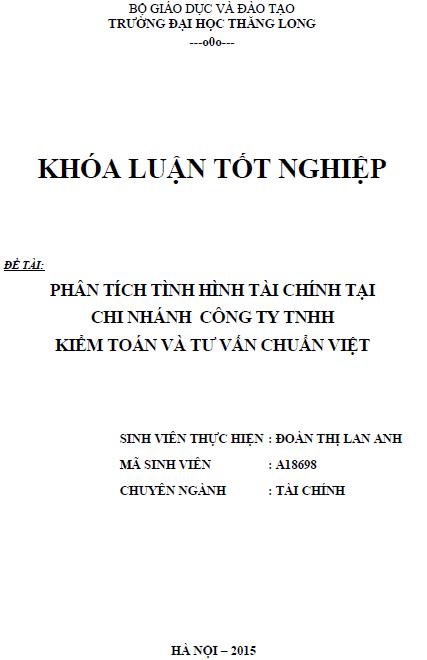 Phân tích tình hình tài chính tại chi nhánh Công ty TNHH Kiểm toán và tư vấn Chuẩn Việt