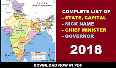 Lists of Indian State, Capital, Chief Minsiter and Governor 2018