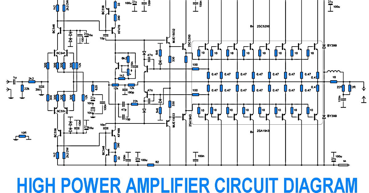 To View Larger 5000w High Power Amplifier Audio Circuits Diagrams