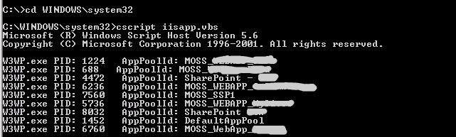 iisapp.vbs server 2003