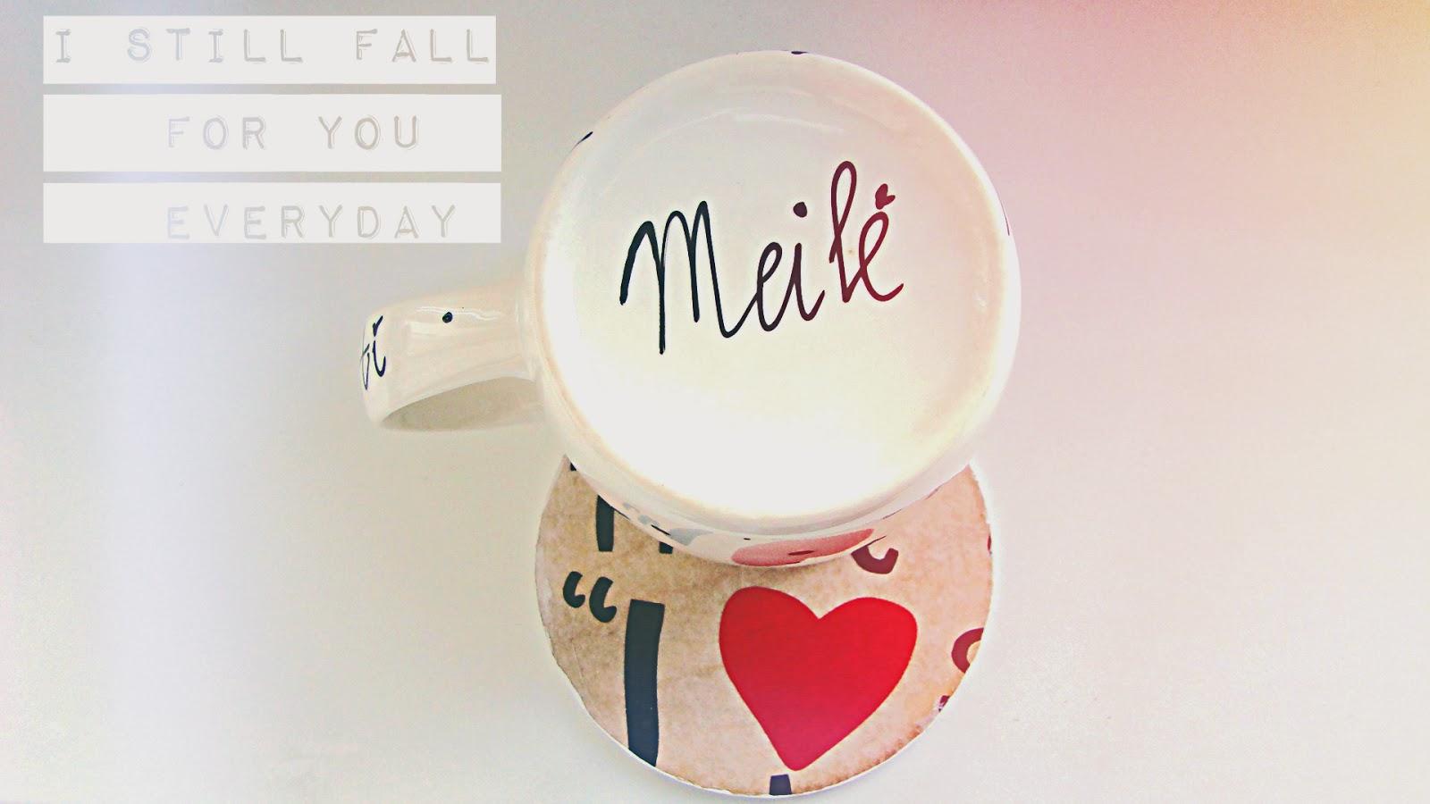 rankų darbo dekoruotas puodelis su užrašu meilė