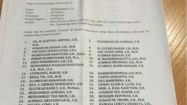 Kapitra Ampera Tunjukkan Bukti Masih Jadi Pengacara Habib Rizieq