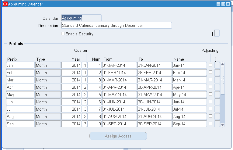 How can be add month in calendar or defining new fiscal year