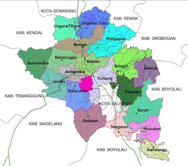 Gambar Peta Kecamatan kabupaten Semarang