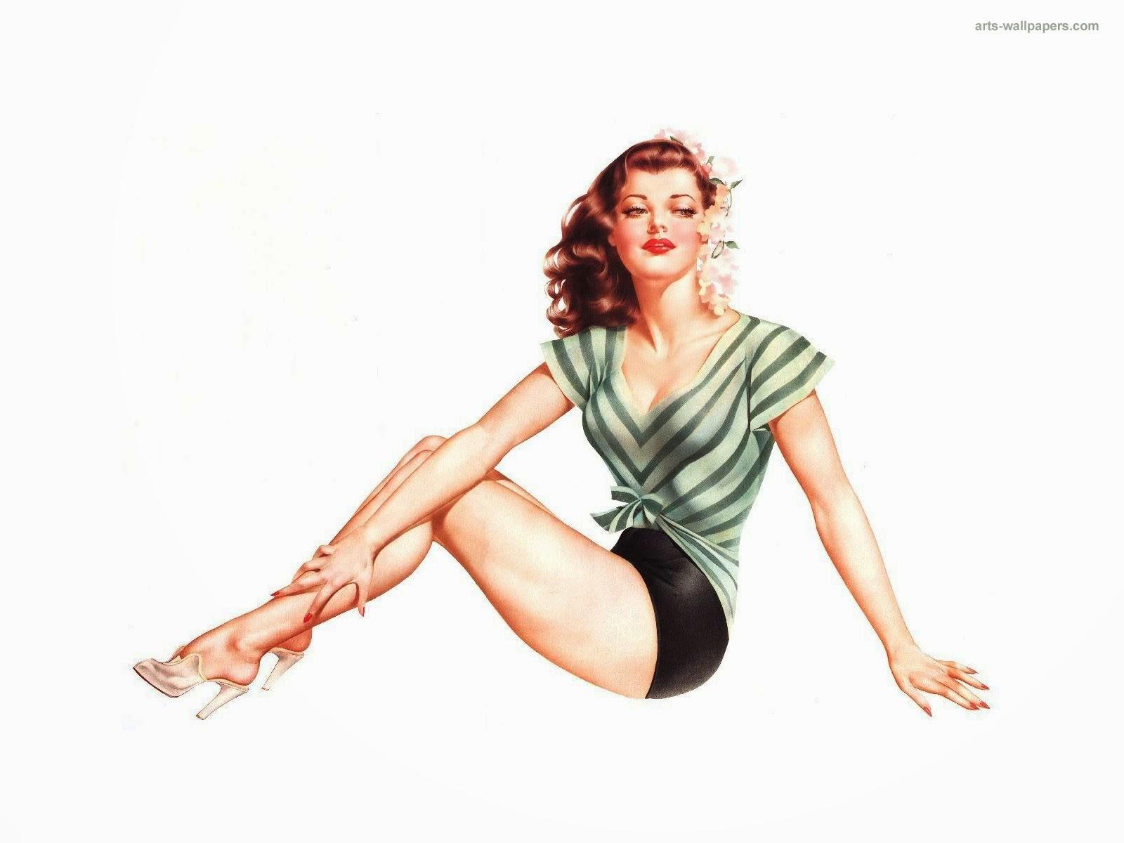 ilustración de chica sexy estilo pin up