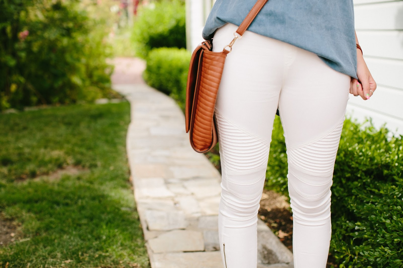 Crossbody Bag, White Moto Leggings, Summer Outfit