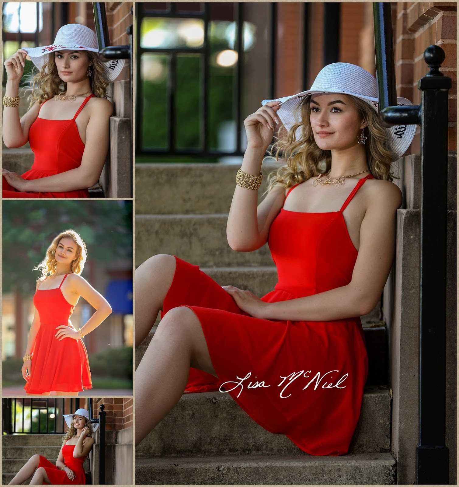 pretty blond teen in red dress with white hat