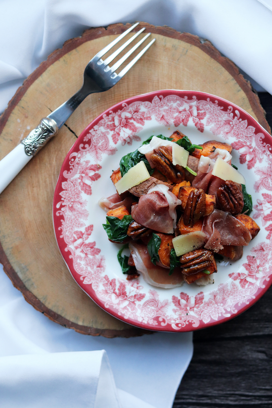 Emilys recipes and reviews uk food blog leicestershire a warm autumnal salad mixing the salty flavours of parma ham sweet potato earthy spinach and sticky pecans bringing out the signature flavours of the forumfinder Gallery