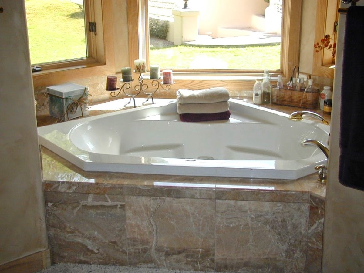 Home priority fascinating designs of corner whirlpool tub for Jet tub bathroom designs