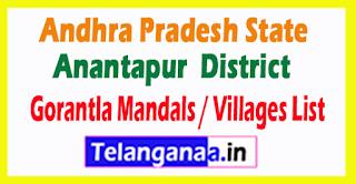 Gorantla Mandal Villages Codes Anantapur District Andhra Pradesh State India