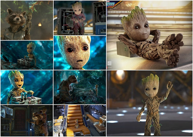 Baby Groot Free Printable Cards, Backgrounds or Invitations.