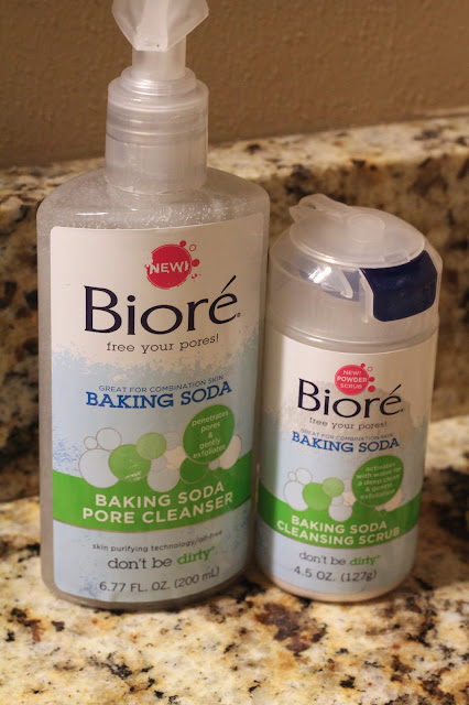 Bioré Baking Soda Cleanser and Baking Soda Cleansing Scrub skincare routine