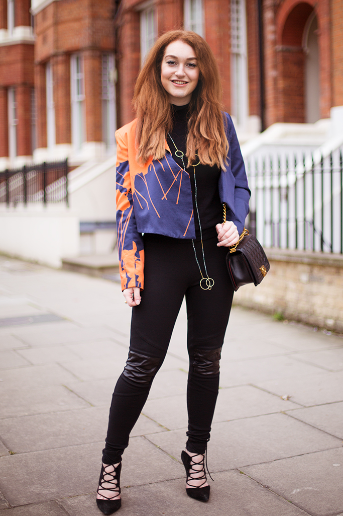 Cropped navy tux with leggings street style
