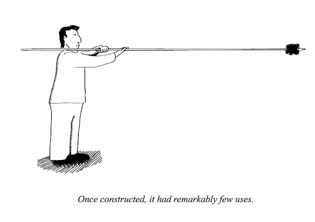 "a cartoon by Kliban, ""Once constructed, it had remarkably few uses."""