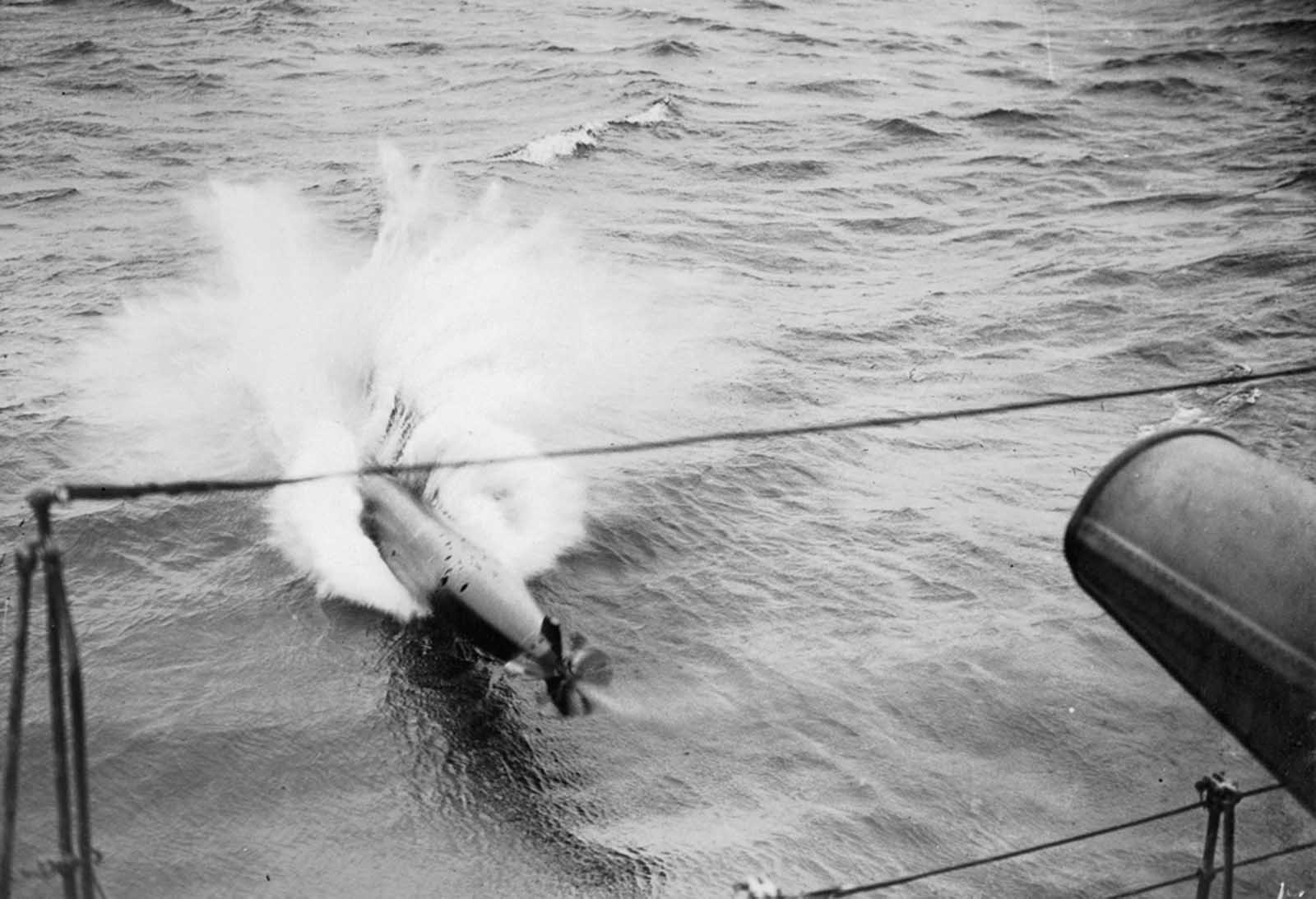Launching a torpedo, British Royal Navy, 1917.