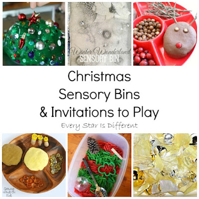 Christmas sensory bins and invitations to play for kids.