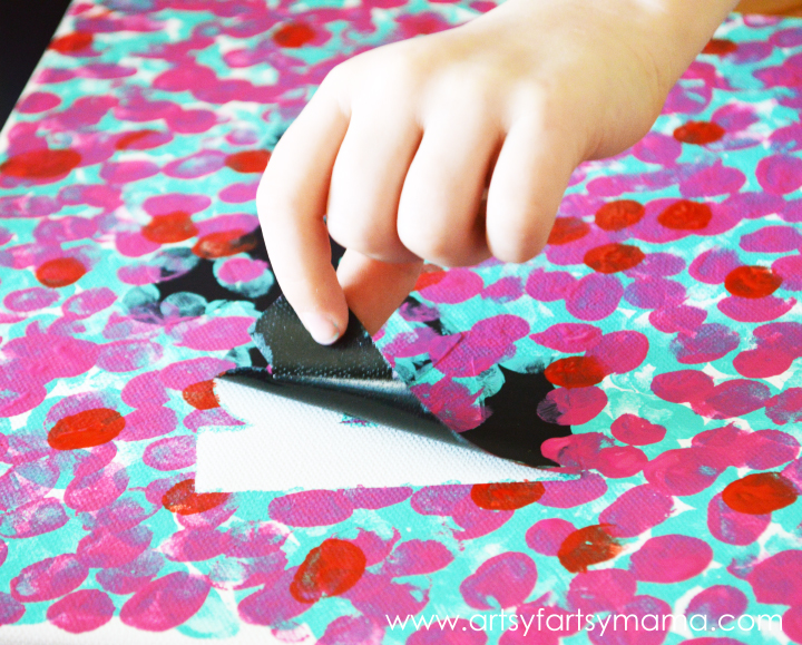 Easy Valentines Fingerprint Canvas at artsyfartsymama.com #kidscrafts #Valentines #plaidcrafts