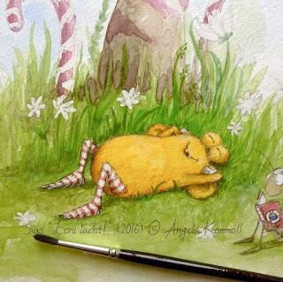 Loni lacht, Kinderbuch, Kinderbuchillustration, Kommoß, kleines monster, Monster, niedlich, pumpf, Loni,
